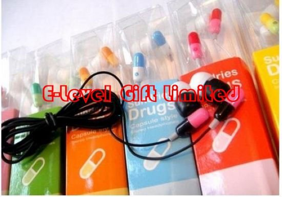 #A0034 DHL Free Shipping 270pcs/lot, 3.5mm Drug In-ear Stereo Earphone, Colorful Capsule Style Earphone Headphone for MP3, MP4(China (Mainland))