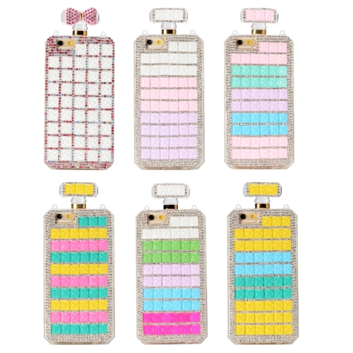 Fashion Ladies Perfume Bottle Shape 6s 6 Case Diamond Encrusted Plastic Case Cover with Chain For iPhone 6S & iPhone 6(China (Mainland))