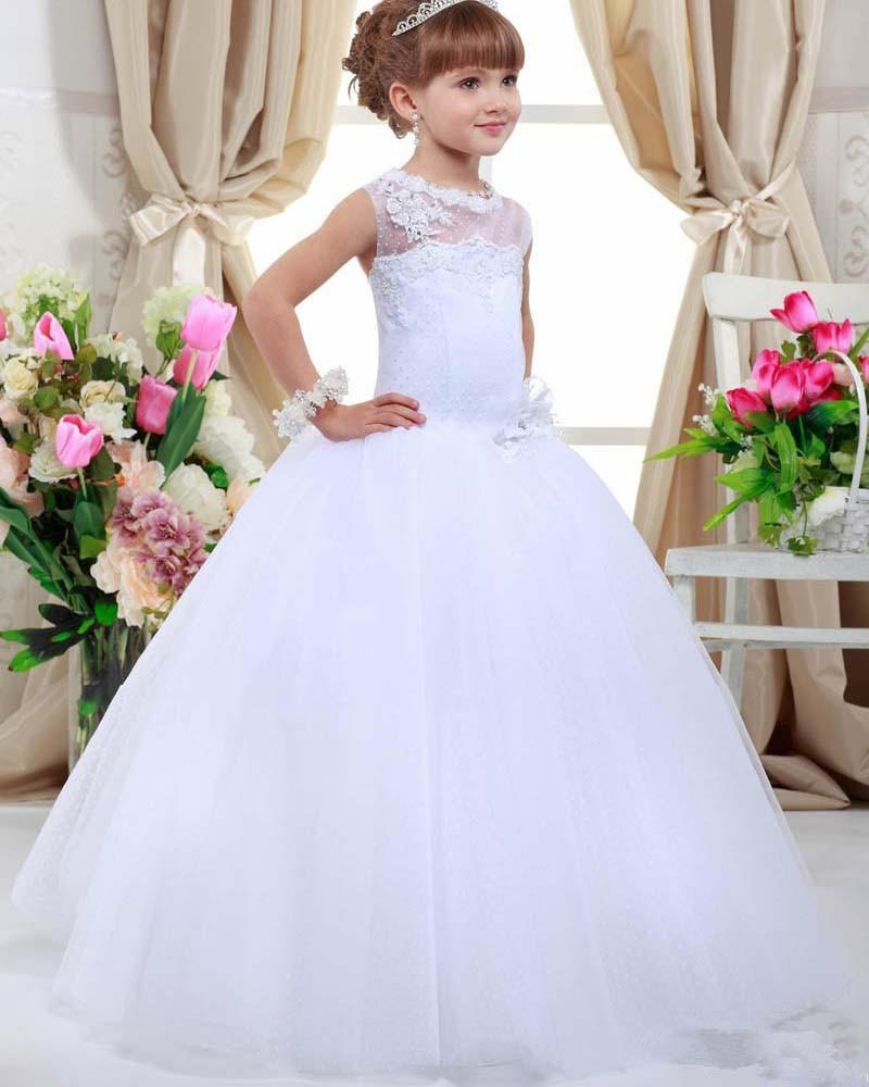 2016 first communion dresses for girls a line tulle flower for Dresses for girls for weddings