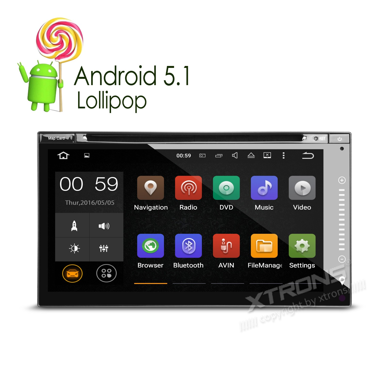 """6.95"""" Android 5.1 OS Double Din Car DVD Two Din Car Radio 2 Din Car Navigation with MPEG2/4 DVB-T Digital TV Function(China (Mainland))"""