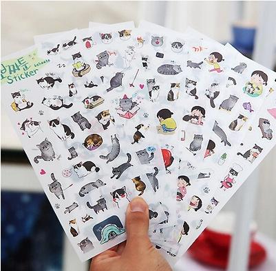 6 pcs/set Novelty Cats Cartoon Animals PVC Cartoon Stickers Diary Sticker Scrapbook Decoration Stationery Stickers Memo Pad(China (Mainland))