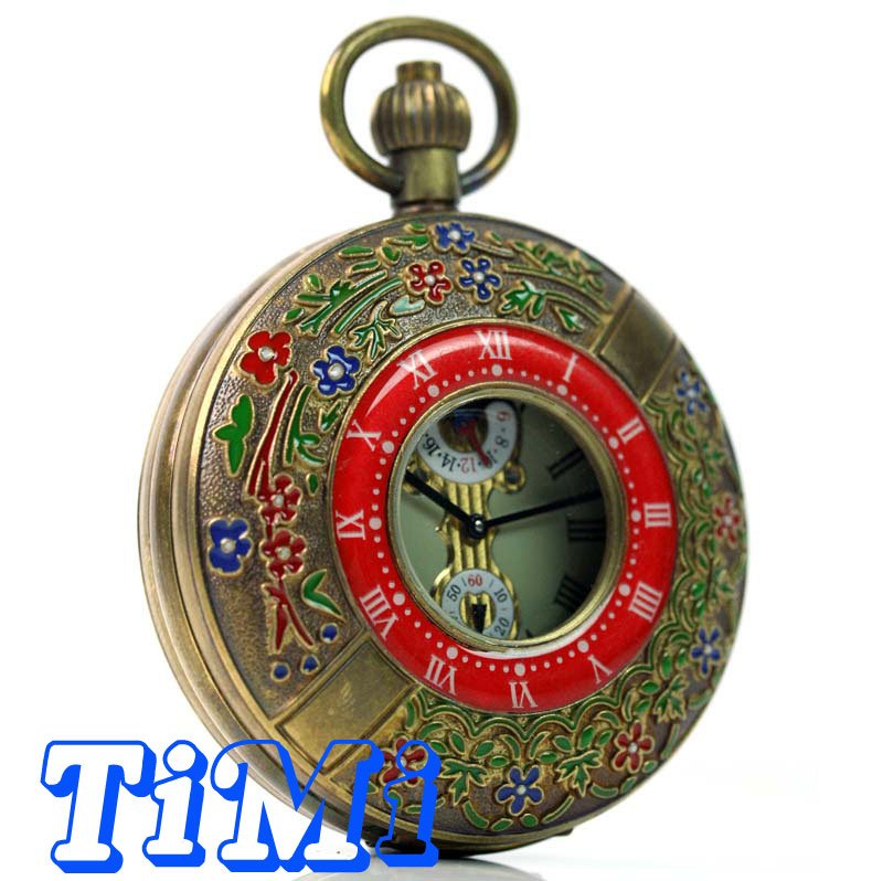 wholesale 55mm ARCHAIZE BRASS Imperial palace ROMAN NUM MECHANICAL POCKET WATCH(China (Mainland))