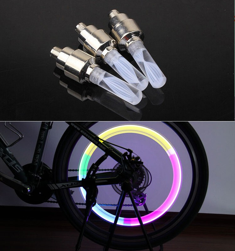 2Pcs Mountain Bike Wheels LED Cycling Wheel Lamp Tire Lamp Bicycle Valve Lights