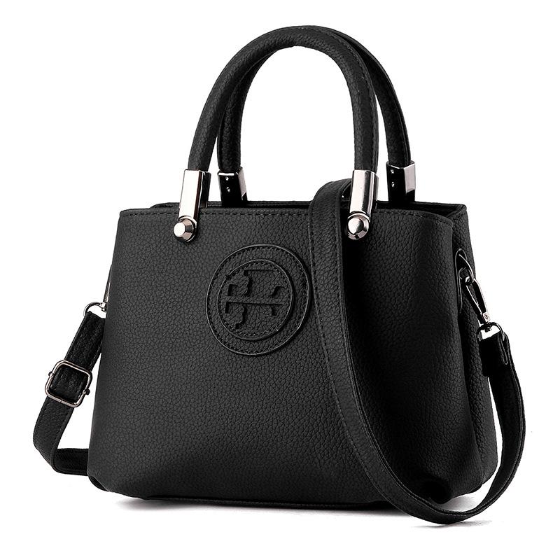 2016 Ladies Hand Bags Famous Brand Bags Logo Handbags Women Fashion Black Leather pochette Shoulder Bag Women Big Bags Purse(China (Mainland))