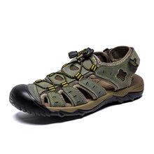 Upuper homens sandálias de negócios couro genuíno verão sapatos casuais homem sandálias de praia ao ar livre roman tênis de água plus size 38-48(China)