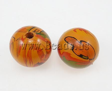 Free shipping!!!Wood Beads,2013 new famous fashion brand, Round, water transfer painting, orange, 25mm, Hole:Approx 4.5mm