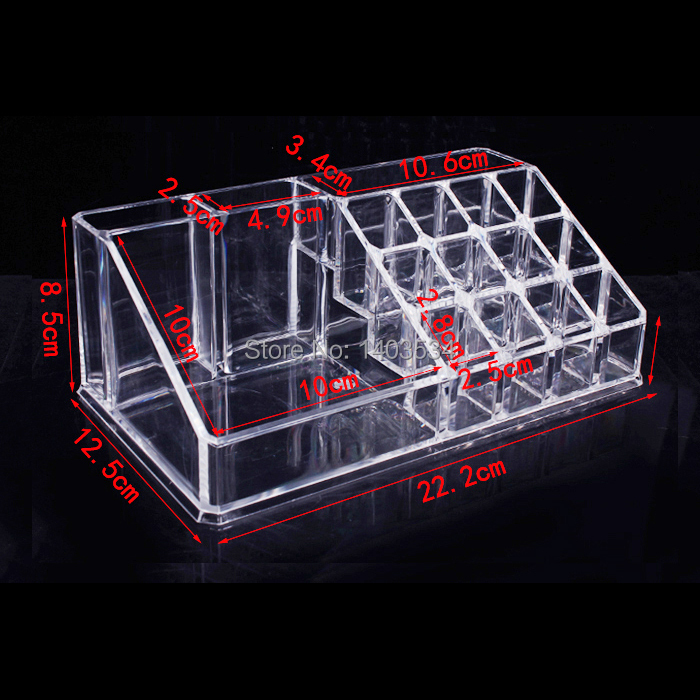 Furniture Hardware Accessories 16 Trapezoid Clear Makeup Cosmetic Organizer Storage Lipstick Holder Case Stand(China (Mainland))