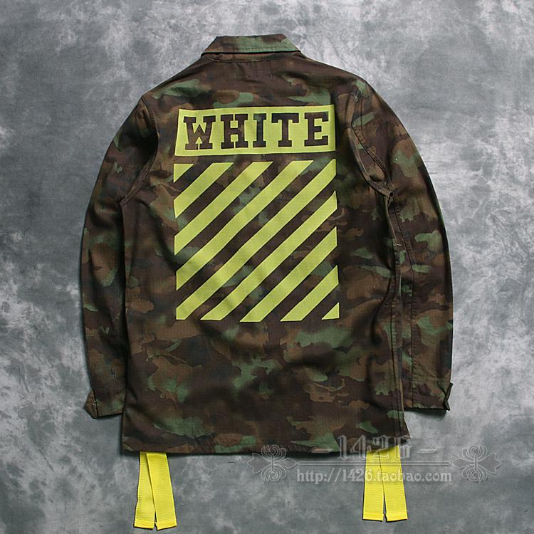 2016 neue Mode-trend weiß off white Camouflage 16ss brief streifen flock druck dünnen männer m65 jacke oberbekleidung(China (Mainland))