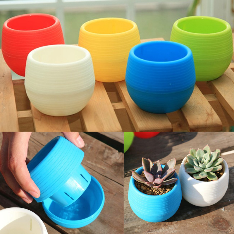 2pcs Set Wholesale Mini Plastic Flower Pot Succulent Plant