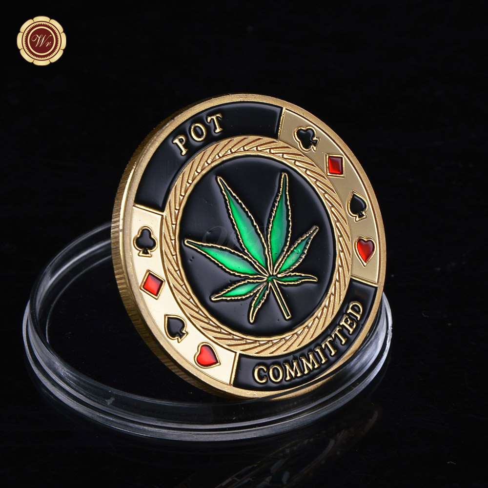 Stylish POT Committed Metal Poker Chip Casino Challenge Gold Coin Lucky Souvenir Personalized Coin Gift For Men(China (Mainland))