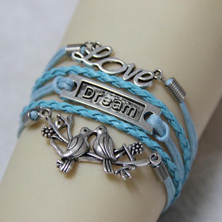 "Free shipping!Multilayer Braided Bracelets Of Retro Silver Tone ""Dream"" Pendant Love Bird Blue Woven Leather Bracelet & Bangle(China (Mainland))"