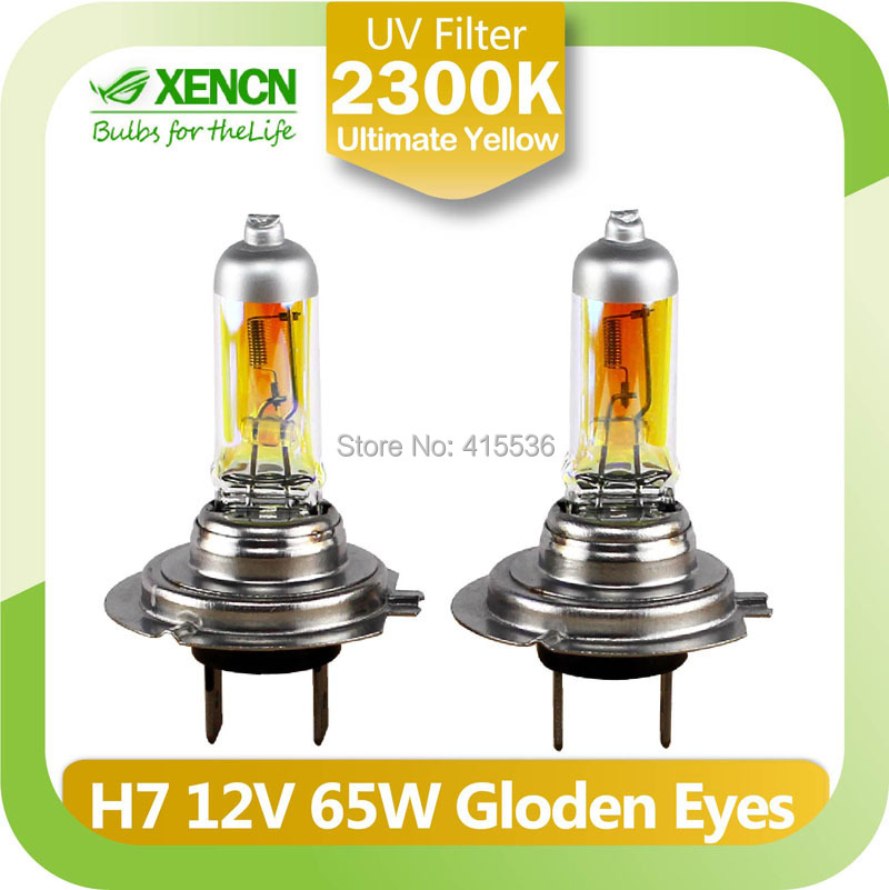 XENCN H7 12V 65W 2300K Golden Eyes Super Yellow Bright Car Halogen Head Light Quality Auto Lamp Free Shipping 2PCS(China (Mainland))