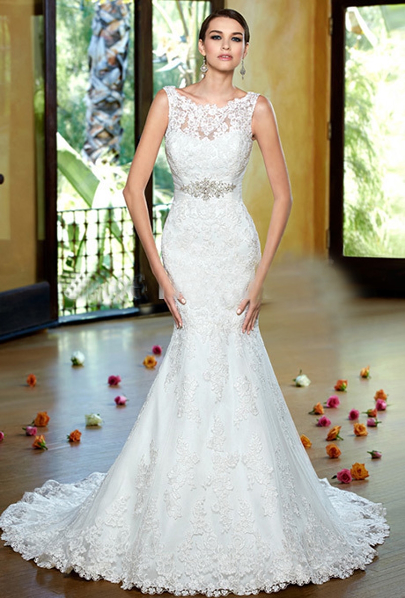 Romantic lace applique crystal beading mermaid wedding for Wedding dresses with crystals beading