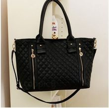 Black Retro Women Office Lady PU Quilted Shoulder Tote Bag Hobo Handbag Fashion(China (Mainland))