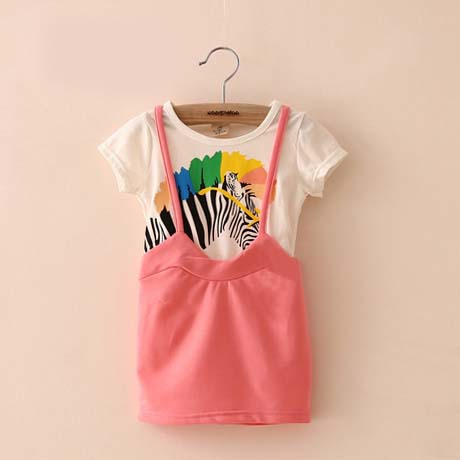 new style straight baby girls dress casual colorful zebra print dress fake two-piece dress A1291(China (Mainland))