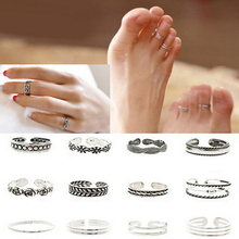 12pcs Wholesale Mix Celebrity Fashion Simple Retro Carved Flower Adjustable Toe/Foot Ring Finger Ring Women Jewelry