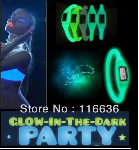 6 pcs Silicone ION Sport WATCH GLOW in the Dark Girl Women Ladies Fashion Silicon Jelly Rubber glowing colors neon party LOT(China (Mainland))