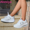 Akexiya New Style Ladies Casuals PU Leather Ladies Fashion Shook Casuals Platforms Women Low Lace Up