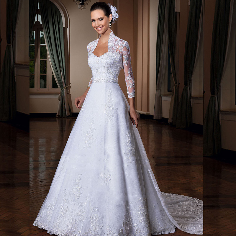 A Line Dresses For A Wedding : Line lace wedding dress appliques long sleeve bridal gown for