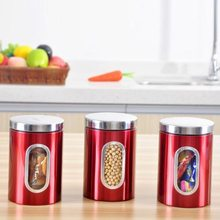 Red 3pcs 202 Stainless Steel Tea Coffee CanistersJar with Window Storage fo Sugar Nuts  for Home Kitchen use 11 x 16.5cm (D*H)(China (Mainland))