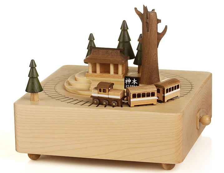 Free shipping Birthday gifts wooden music box Celebrate Private gift Alishan Train for friend(China (Mainland))