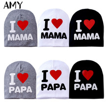 1pc Baby Hat Child Baby Caps New Winter Warm Cotton Unisex Girls Boys I Love Papa Mama Print Kid Hats Newborn Photography Props