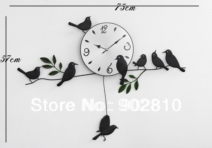 [listed in stock]-Black Metal Iron Bird on Branch Decorative Wall Clock Desinger for Living Room Quartz Clock(China (Mainland))