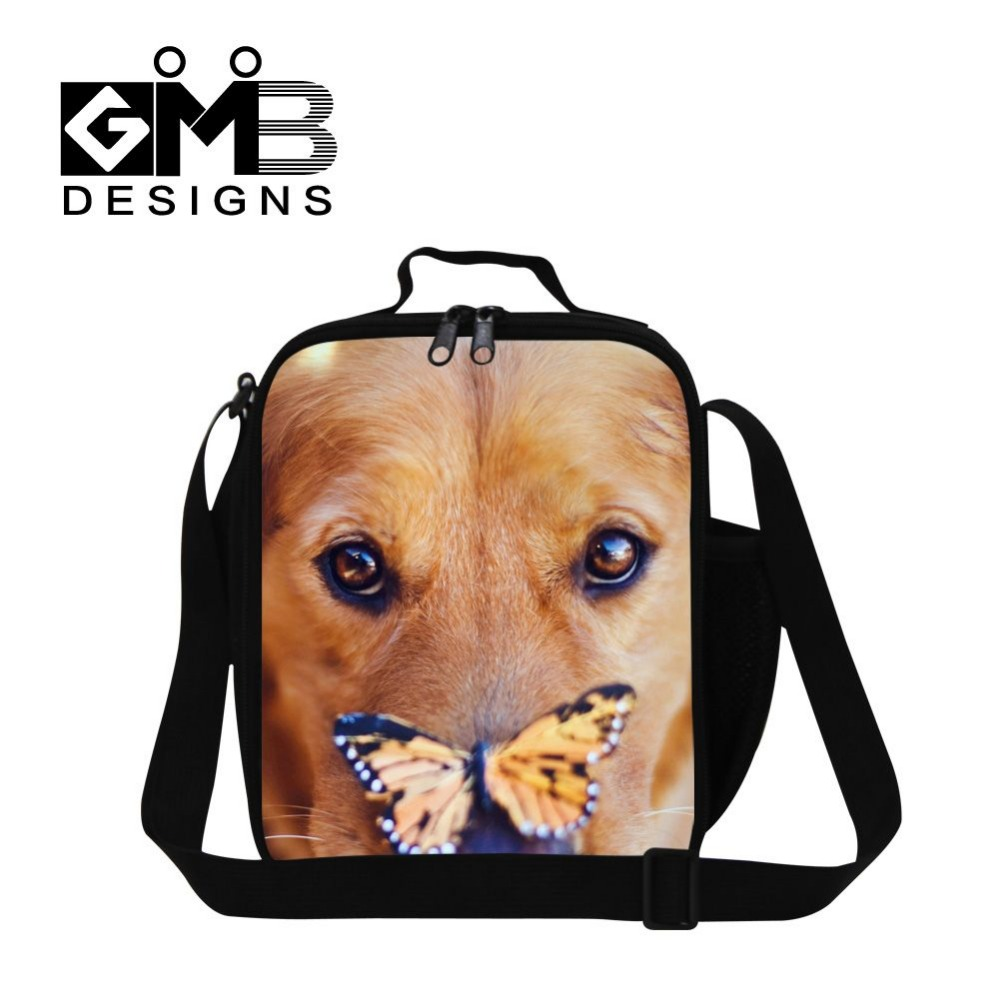 Puppy with butterfly picture designed lunch bags thermal shoulder lunch box for children cool students food bag for travel(China (Mainland))