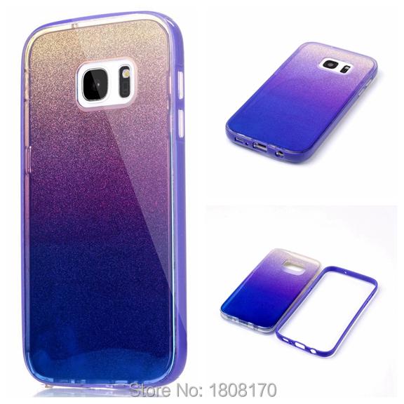 Blue Ray Bling Glitter TPU Case For Samsung Galaxy S7 Edge J2 J5 J7 J710 PC Hybrid Shiny Sticker Mirror Cell Phone Cover 100pcs(China (Mainland))