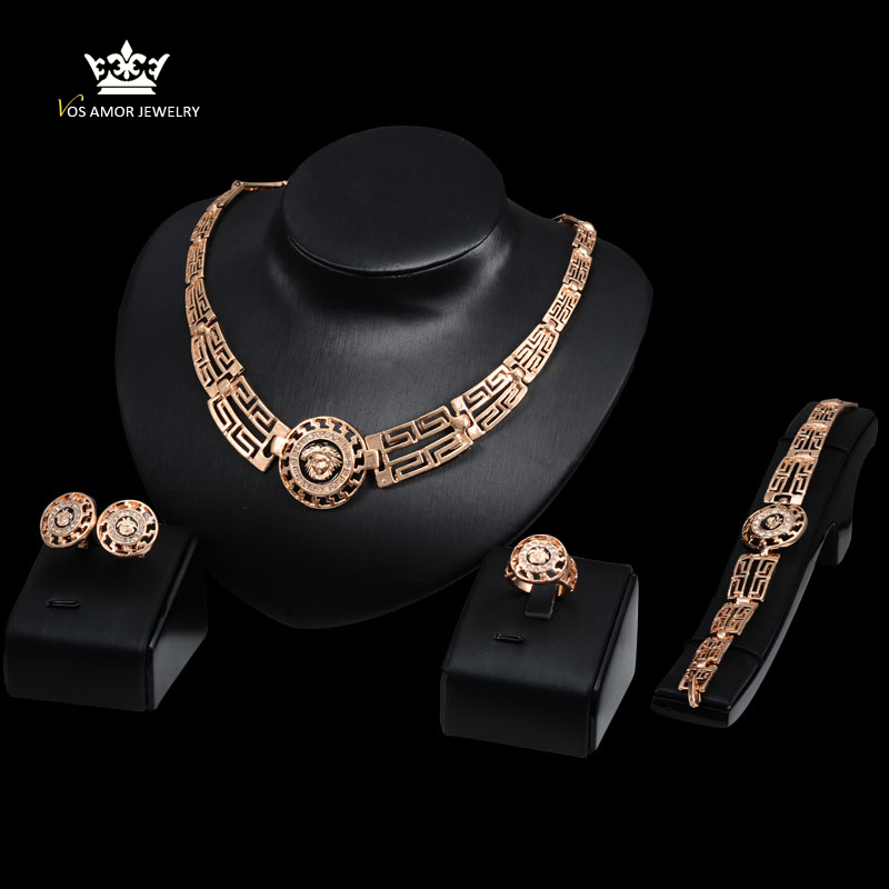 Wedding Bridal Party Crystal Gold Plated Pendant Fine Statement Necklace Earrings Bracelet Rings Set african beads jewelry set(China (Mainland))