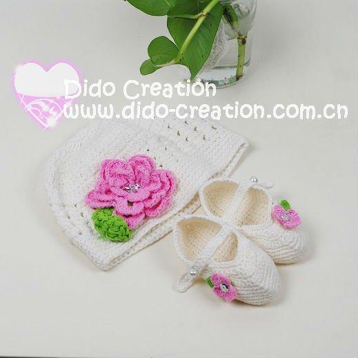 1hat + 1 пара обувь ручной работы вязка крючком младенцы шляпа цветы обувь комплект ...