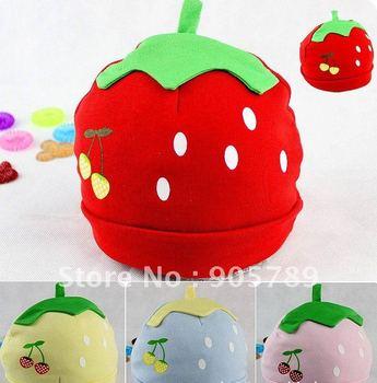 Hot Sale 10pcs/lot  Children Hat Baby Cap infant Hat Strawberry Girl's Cute Warm Hat Kid Head Wear