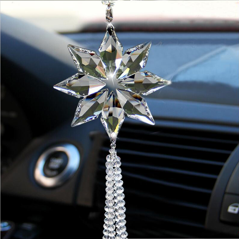 2016 Christmas Star Crystal Car Pendant Flower and Snowflake Crystal Car Styling Weeding Party Birthday Curtain Decorations(China (Mainland))