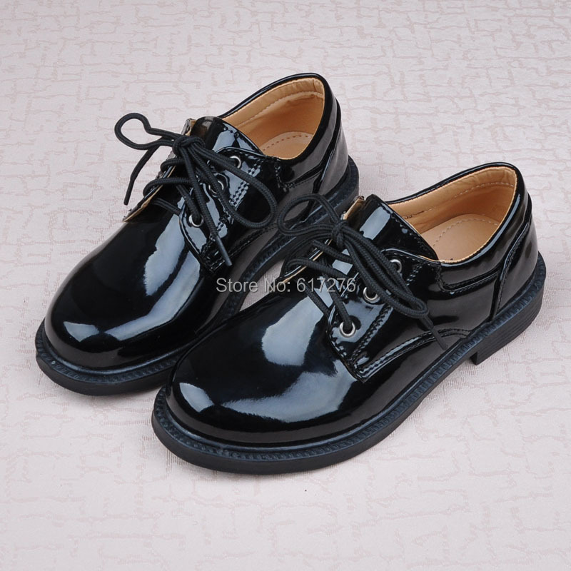 2015 new arrival black patent leather school boy loafers lace-up formal dress shoes uniform shoes(China (Mainland))