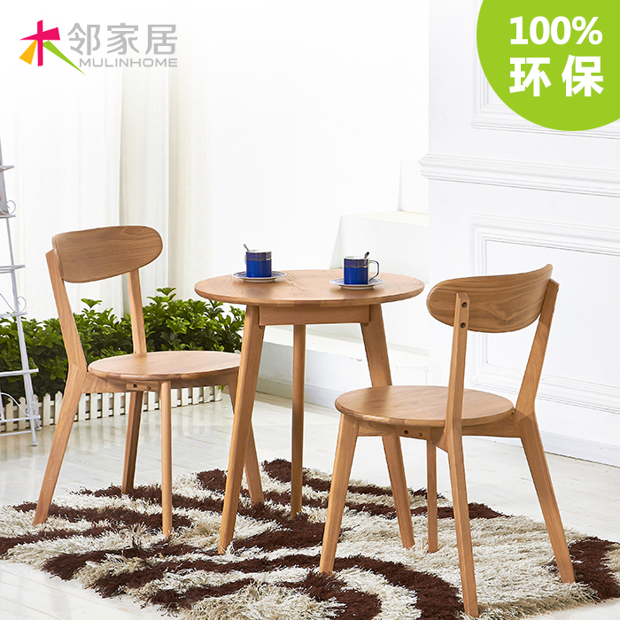 O ikea nordic wood wood round small apartment dinette cafe for Silla nordica ikea