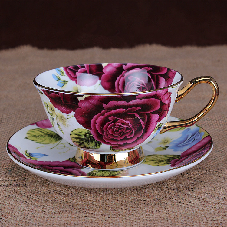 Free shipping, Fashion bone china costa coffee cup and saucer cup dish d'Angleterre red set tea set tea set 2 cups&2 dishes/lot(China (Mainland))