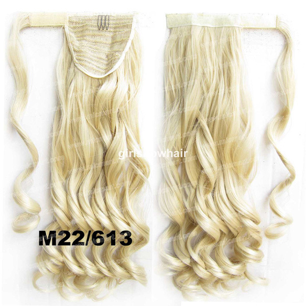 """Wrap Invisible Around Ponytail Heat Resistance Synthetic Wavy Curl HairPiece Pop Pony Colour M22/613,BIP888, 22"""", 90g 1pc(China (Mainland))"""