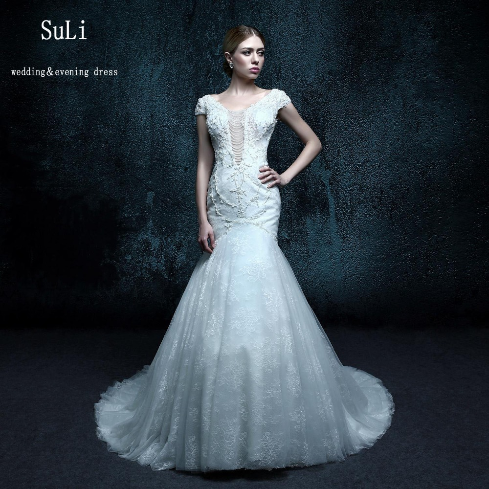 Zxb030 mermaid v neck appliques lace sheer bridal gowns for Tulle wedding dress with sleeves