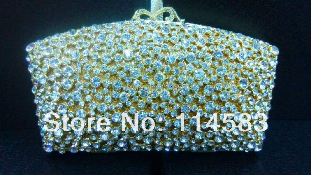 8205 Crystal Lady Fashion Wedding Bridal Party Night Gold Metal Evening purse clutch bag case handbag<br><br>Aliexpress