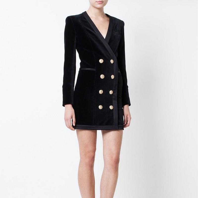 2015FW Luxury dress women velvet long sleeve golden button dress(China (Mainland))