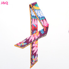 Woman Scarves Real Silk Lengthened 96cm by 5cm Feather and Flower Pattern Bag Handle Silk Scarves Bag Decoration Ribbon SJ163515(China (Mainland))