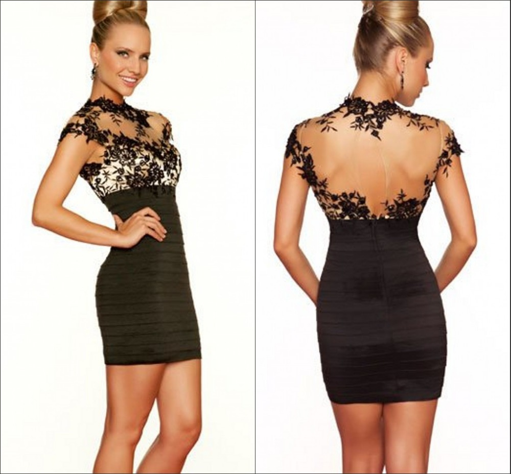 High Neck Black Lace Short Mini Cocktail Dress Plus Size