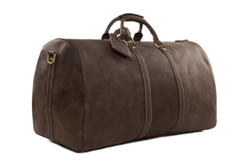 ROCKCOW Large Vintage Retro Look Genuine Leather Duffle Bag Weekend Bag Men's Handbag 12027(China (Mainland))