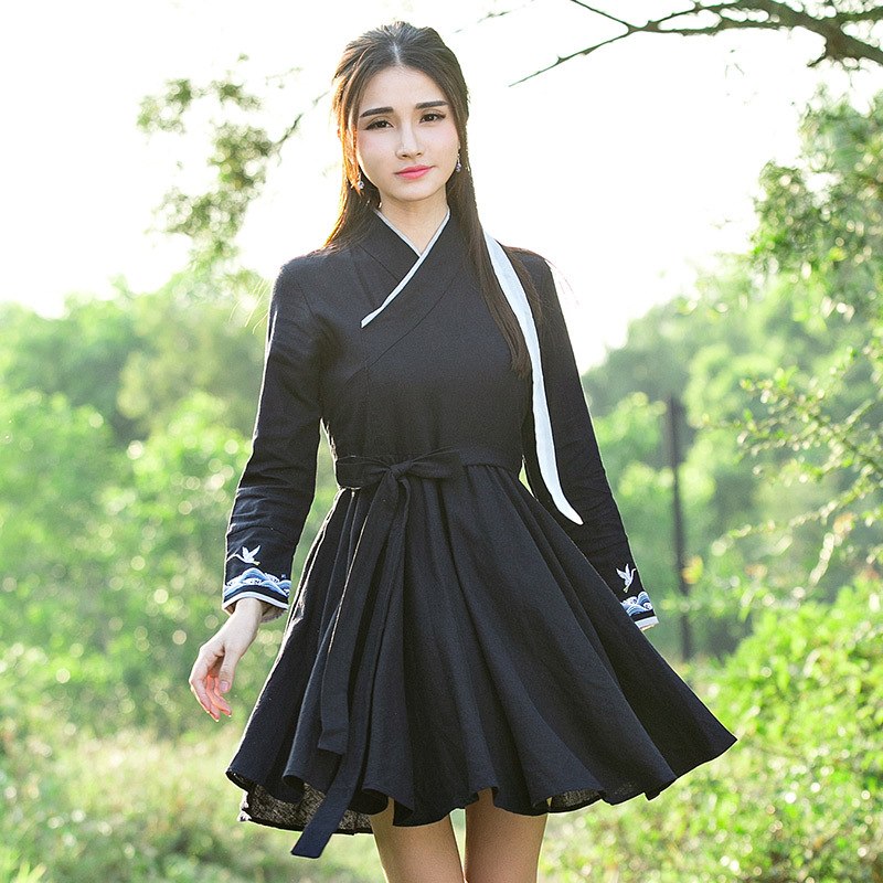 Spring 2016 original design retro cross collar embroidery linen dress female temperament Xianhe waves(China (Mainland))