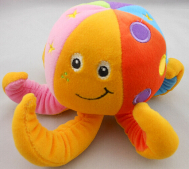 22CM TOLO Baby Bed Bell Plush Toys Multicolors Octopus Stuffed Toys Fast Free Shipping High Quality Hot Sale P182(China (Mainland))