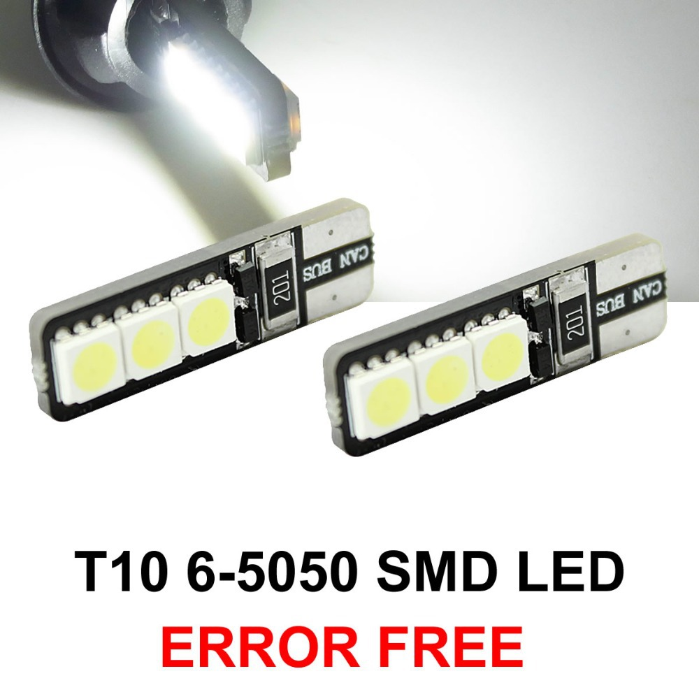 2pcs/lot Bright Double No Error T10 LED 194 168 W5W Canbus 6 SMD 5050 LED Car Interior Bulbs Light Parking Width Lamps(China (Mainland))