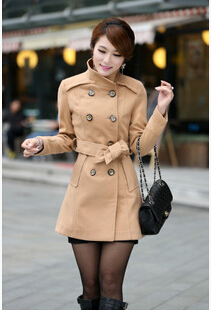 European American Women's Winter New Double-breasted Wool Coat Solid Color Belt Collar Female - Flamboyant World store