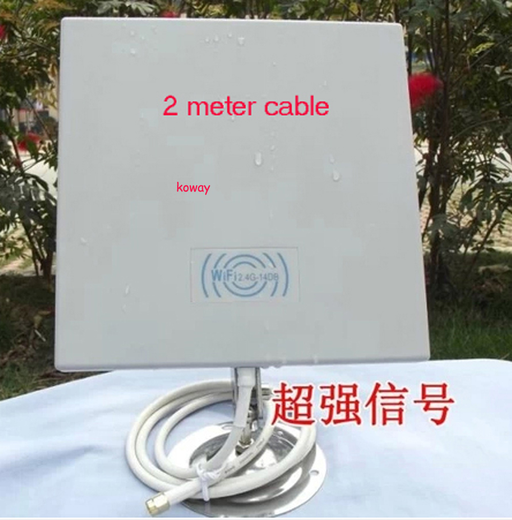 14dB 2.4GMHz Wireless WiFi panel  WIFI WLAN Outdoor Panel Antenna with 2 meter cable 50pcs/lot