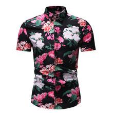 Мужская приталенная рубашка с цветочным принтом, с коротким рукавом, на пуговицах, Пляжная, гавайская, повседневная, для отдыха, для вечерин...(China)