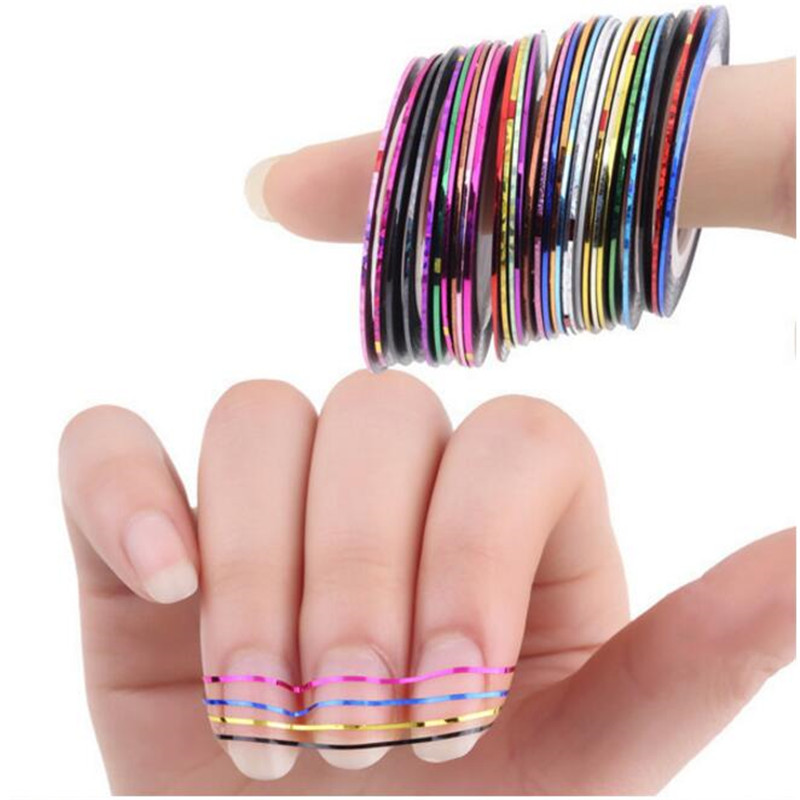30PCS Beauty Mixed Colors Nail Rolls Striping Tape Line Nail Art Tips Decoration Designer Makeup Fingernail Sticker Decal Tools(China (Mainland))